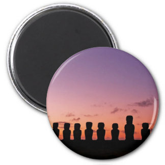 Chile Figures In The Sunset 2 Inch Round Magnet