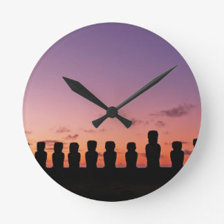 Chile Figures In The Sunset Wall Clock