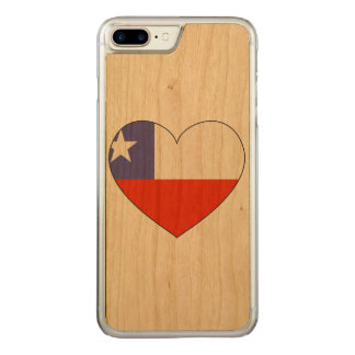 Chile Flag Heart Carved iPhone 8 Plus/7 Plus Case