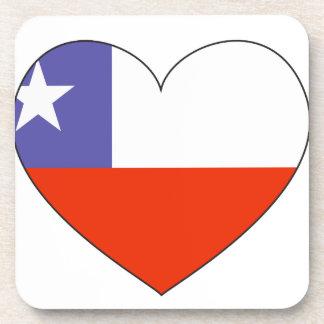 Chile Flag Heart Coaster