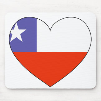 Chile Flag Heart Mouse Pad
