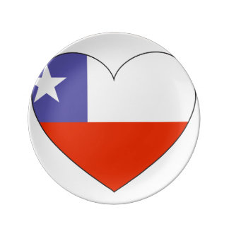 Chile Flag Heart Plate