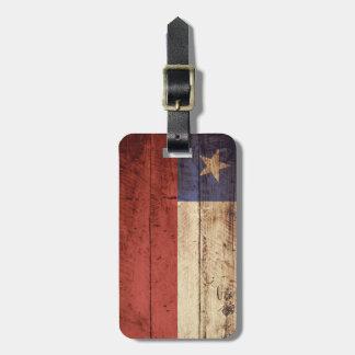 Chile Flag on Old Wood Grain Luggage Tag