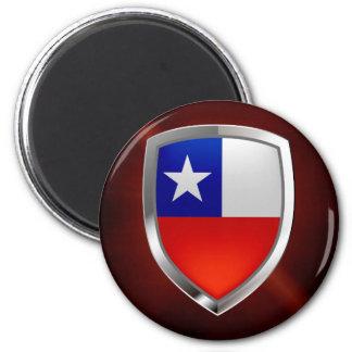 Chile Mettalic Emblem 2 Inch Round Magnet