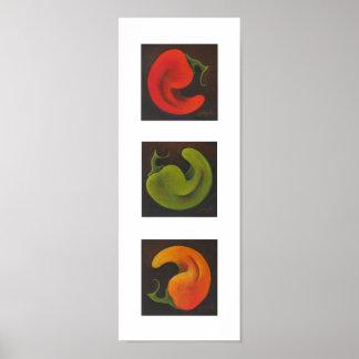 Chile Trio (vertical) Poster