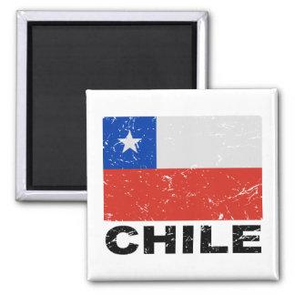 Chile Vintage Flag Square Magnet