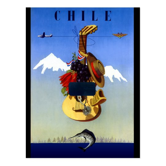 Chile Vintage Travel Poster Postcard