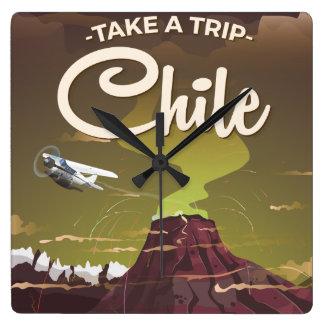 Chile Volcano vintage travel poster Clocks