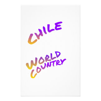 Chile World Country text art Stationery Paper