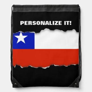 Chilean Flag Drawstring Backpacks
