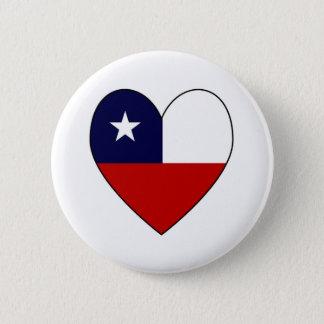 Chilean Flag Heart Valentine 2 Inch Round Button