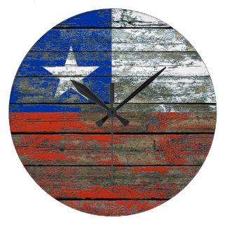 Chilean Flag on Rough Wood Boards Effect Wallclock