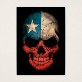Chilean Flag Skull on Black Business Card