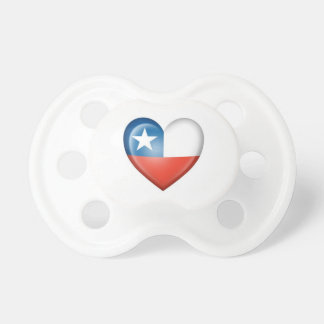 Chilean Heart Flag on White Pacifier