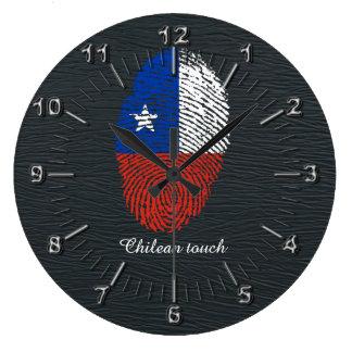 Chilean touch fingerprint flag large clock