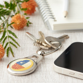 Chilean touch fingerprint flag Silver-Colored oval keychain
