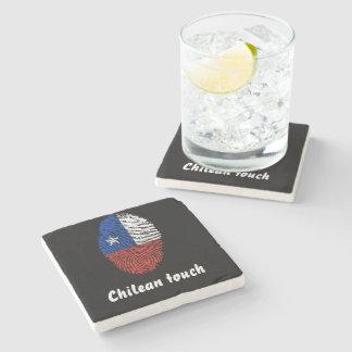 Chilean touch fingerprint flag stone coaster
