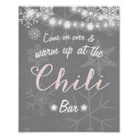 Chili Bar sign Pink snowflake Chilly Rustic Winter
