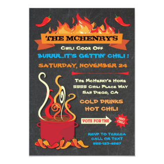 """CHILI COOK OFF Chalkboard Party Poster 5"""" X 7"""" Invitation Card"""