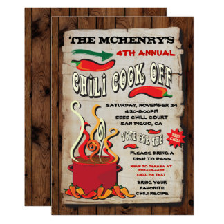 CHILI COOK OFF Party Poster Card