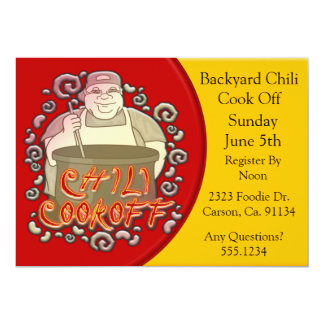 "Chili Cook Off Stirring The Pot 5"" X 7"" Invitation Card"