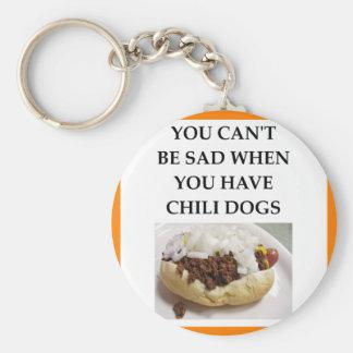 CHILI DOG BASIC ROUND BUTTON KEYCHAIN