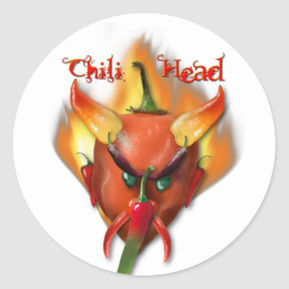 Chili Head Devil Classic Round Sticker