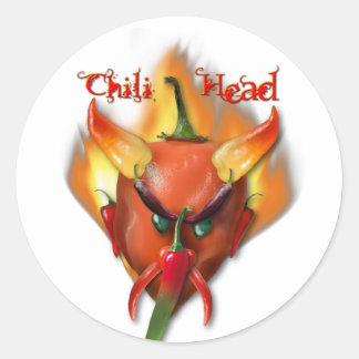 Chili Head Devil Round Sticker