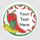 Chili Pepper Group Circle Frame Classic Round Sticker