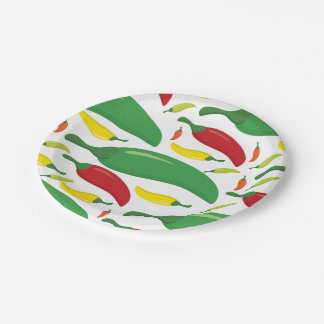 Chili pepper pattern 7 inch paper plate