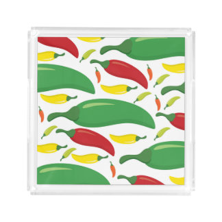 Chili pepper pattern acrylic tray