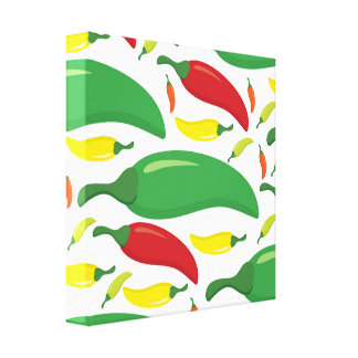 Chili pepper pattern canvas print