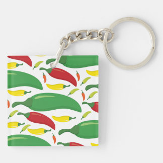 Chili pepper pattern Double-Sided square acrylic keychain