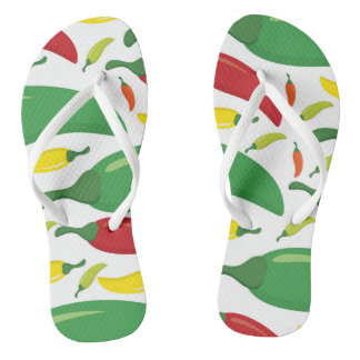 Chili pepper pattern flip flops