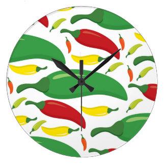 Chili pepper pattern large clock