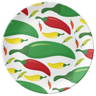 Chili pepper pattern porcelain plates