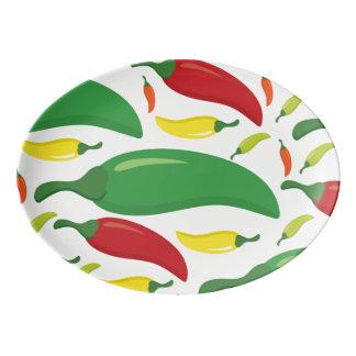 Chili pepper pattern porcelain serving platter
