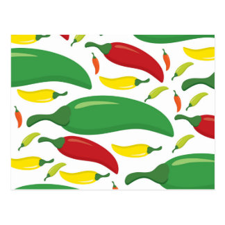 Chili pepper pattern postcard