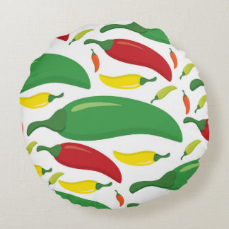 Chili pepper pattern round pillow