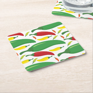 Chili pepper pattern square paper coaster