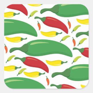 Chili pepper pattern square sticker