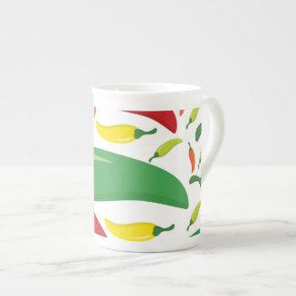 Chili pepper pattern tea cup