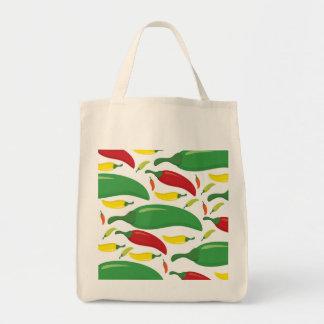 Chili pepper pattern tote bag