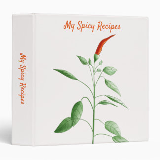 Chili Pepper Plant Botanical Drawing Spicy Recipe 3 Ring Binder