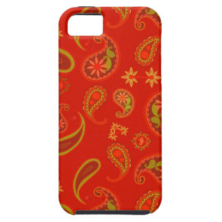 Chili Pepper Red and Lime Green Paisley Pattern iPhone 5 Cover