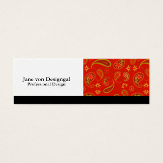 Chili Pepper Red and Lime Green Paisley Pattern Mini Business Card