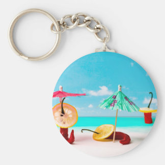 Chili Peppers By The Sea Basic Round Button Keychain