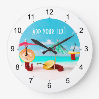 Chili Peppers By The Sea Large Clock