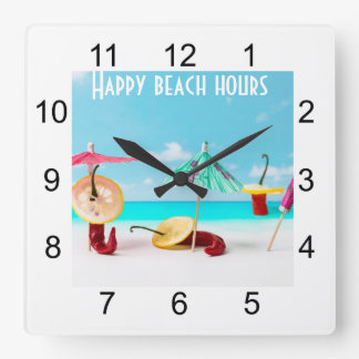 Chili Peppers By The Sea Square Wall Clock