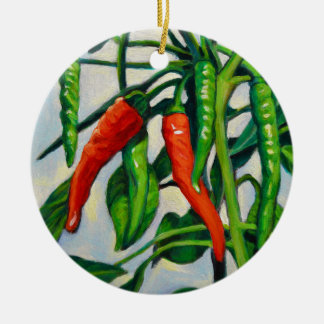 Chili Peppers Ceramic Ornament